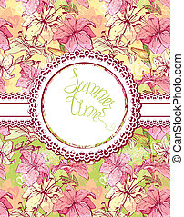 Card with hand drawn flowers - tiger lilly. Floral pattern with round frame. Design for birthday, wedding invitation, etc.