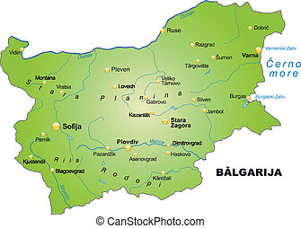 Map of Bulgaria as an overview map in green