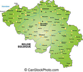 Map of Belgium as an overview map in green