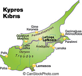 Map of Cyprus as an overview map in green