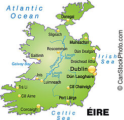 Map of Ireland as an overview map in green