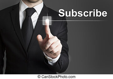 touchscreen subscribe - man in black suite pressing virutal...