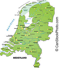 Map of Netherlands as an overview map in green