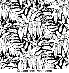 Vector pattern with leaves of tropical plants - Seamless...