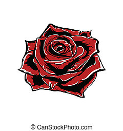 Vector red rose isolated on white