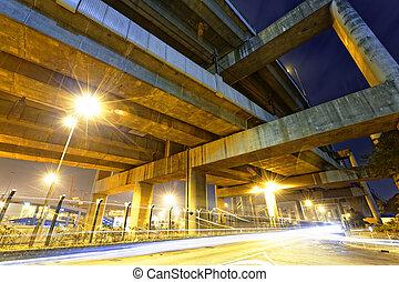 cidade, noturna, estrada, luzes,  Overpass