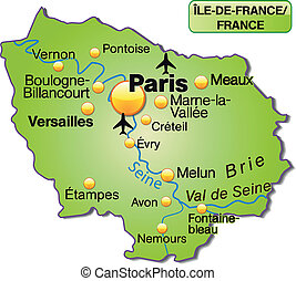 Map of Ile-de-France as an overview map in green