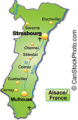 Map of Alsace as an overview map in green
