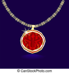 necklace with heart pendant.eps