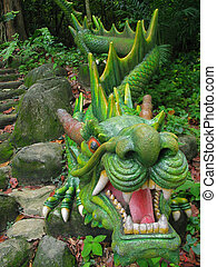 Green Dragon Statue - Dragon Statue at Sentosa Island in...