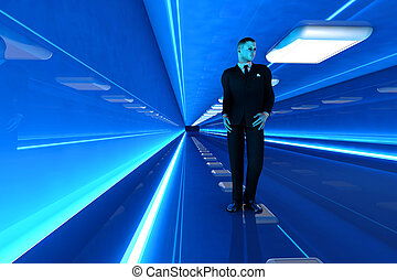 In the Corridor - A business man walking down a airport...