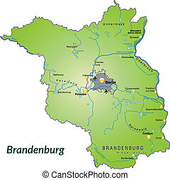 Map of Brandenburg as an overview map in green