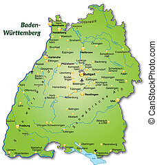 Map of Baden-Wuerttemberg as an overview map in green