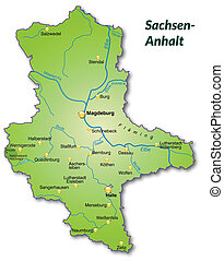 Map of Saxony-Anhalt as an overview map in green