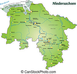 Map of Lower Saxony as an overview map in green