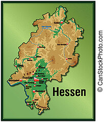 Map of Hesse as an overview map with hight layers