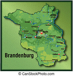 Map of Brandenburg as an overview map with hight layers