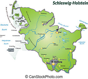 Map of Schleswig-Holstein as an overview map in green