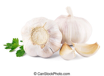 garlic with parsley leaves