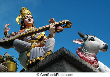 Indian Temple Statues - Saraswati, Goddess of Learning and...