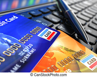 Online shopping. Credit card on laptop keyboard. E-commerce.