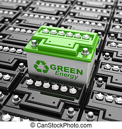 Car battery recycling. Green energy. Background from...