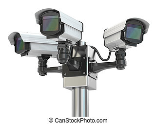 CCTV security camera on white isolated background 3d