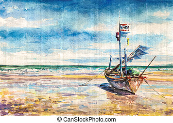 Boat on the beach. Thailand.Picture created with...