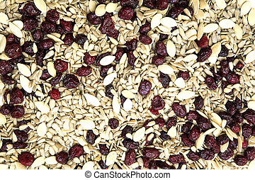 Organic Food - Organic seeds and dried cranberries in a...