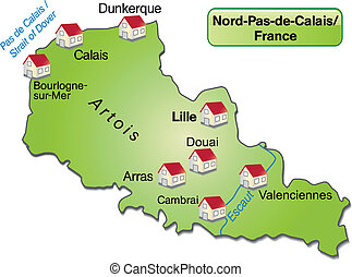 Map of North-pas-de-calais as an overview map in green