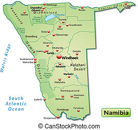 Map of Namibia as an overview map in pastel green