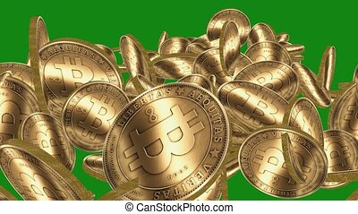 Many Gold bitcoin coins flying in air on Green...
