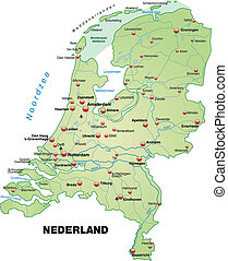 Map of Netherlands as an overview map in pastel green