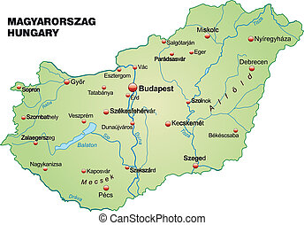 Map of Hungary as an overview map in pastel green