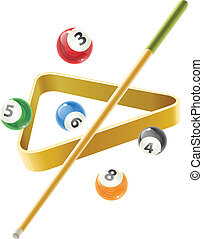 Ball and cue for billiard game - Ball and cue for playing...