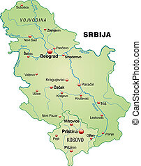 Map of Serbia as an overview map in pastel green