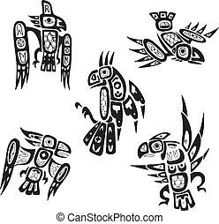 Native indian shoshone tribal drawings Birds Vector set