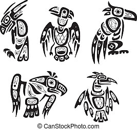 Native indian shoshone tribal drawings Eagles Vector set