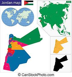Jordan map - Map of administrative divisions of Jordan