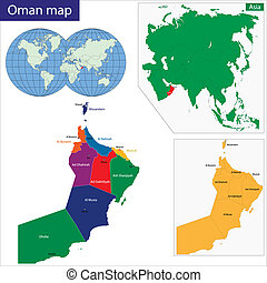 Oman map - Map of the Sultanate of Oman drawn with high...