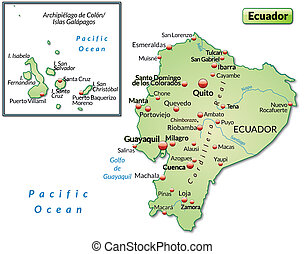 Map of ecuador as an overview map in pastel green