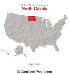 north dakota - United States of America map and North Dakota...