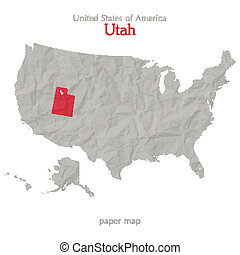 utah - United States of America map and Utah territory...