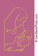 Yellow on Pink Mother Infant Sketch - Mother holding infant...