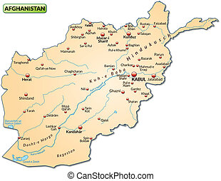 Map of Afghanistan as an overview map in pastel orange