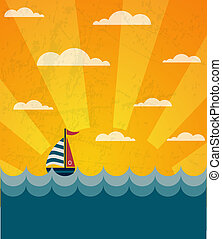 Say Hello to Summer, retro illustration of a boat and wavy...