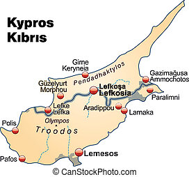 Map of Cyprus as an overview map in pastel orange