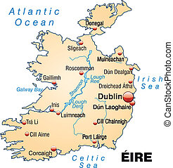 Map of Ireland as an overview map in pastel orange
