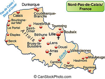 Map of North-pas-de-calais as an overview map in pastel...