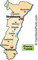 Map of Alsace as an overview map in pastel orange